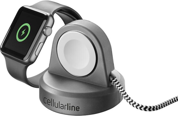 CellularLine nabíjecí stojánek Power Dock pro Apple Watch, bezdrátový, MFi, černá