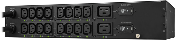 CyberPower Dual-Bank PDU Switched (ATS), 2U, (16) IEC C13, (2) IEC C19, IEC 60309 32A