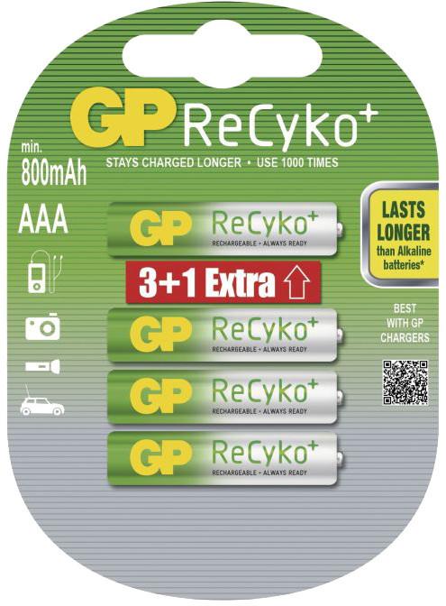 GP Recyko+, nabíjecí AAA 800 Ni-MH, 4ks (3+1)
