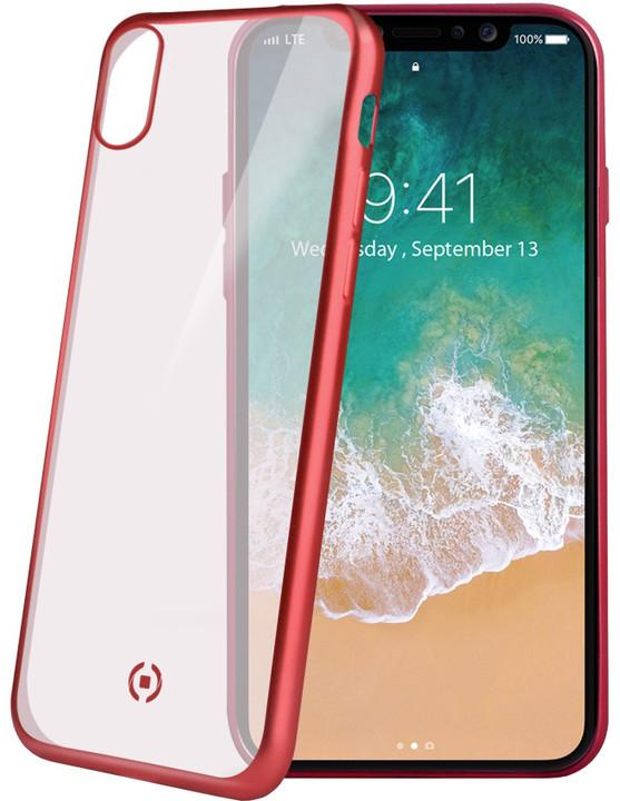 CELLY Laser TPU pouzdro - lemování s matným kovovým efektem pro iPhone X, červené