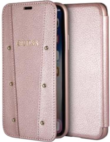 GUESS Kaia Book Case PU pro iPhone X, růžovo zlaté