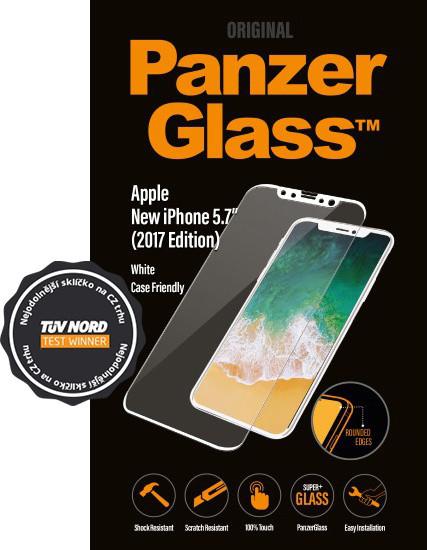 PanzerGlass Edge-to-Edge Case Friendly pro Apple iPhone X, bílé