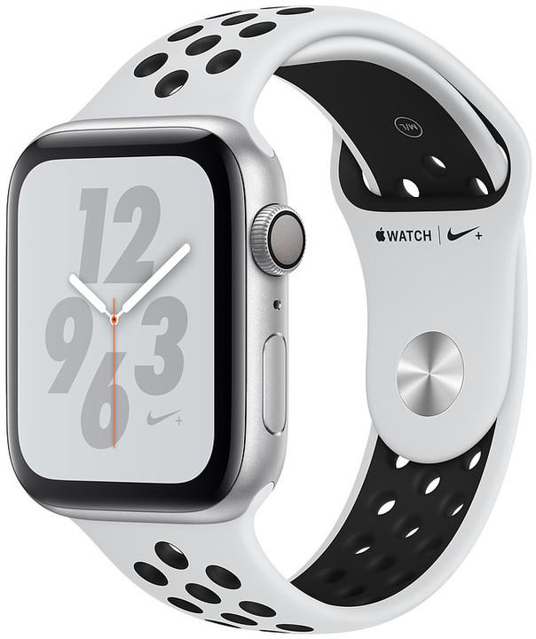 Apple Watch Nike+ Series 4, 40mm, pouzdro ze stříbrného hliníku/černý řemínek