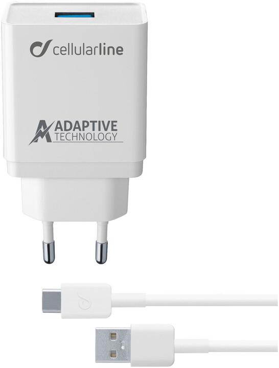 CellularLine Set USB nabíječky a USB-C kabelu adaptivní nabíjení, 15W, bílá