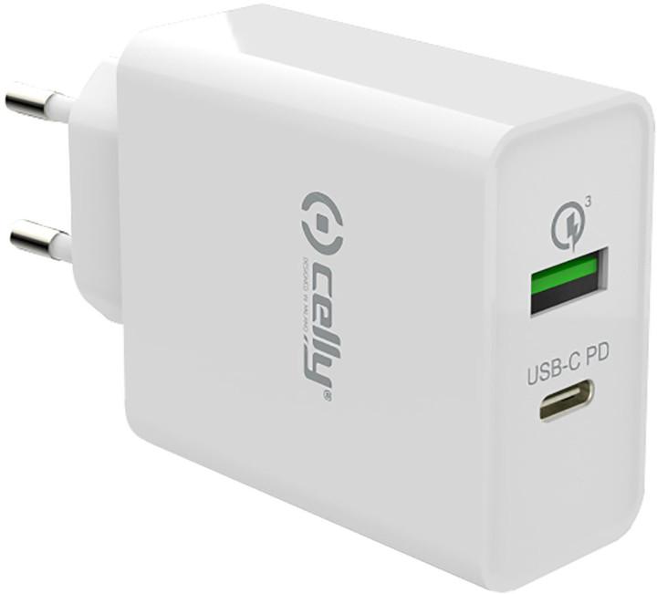 CELLY nabíječka PRO POWER s USB-C (PD) a USB, Qualcomm Quick Charge 3.0, bílá