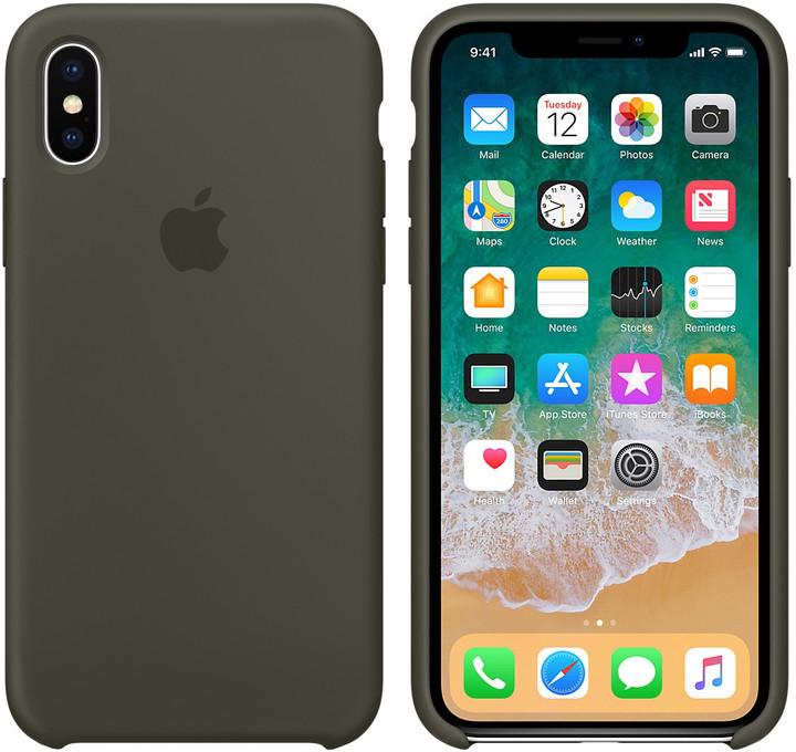 Apple silikonový kryt na iPhone X, tmavě olivová