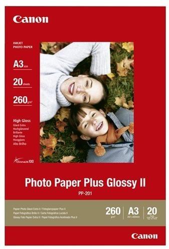 Canon Foto papír Plus Glossy II PP-201, A3, 20 ks, 260g/m2, lesklý