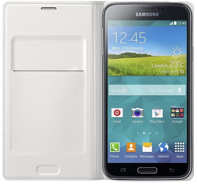 Samsung flipové pouzdro s kapsou EF-WG900B pro Galaxy S5, bílá