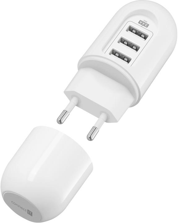 CONNECT IT cestovní nabíjecí adaptér 3xUSB, bílý