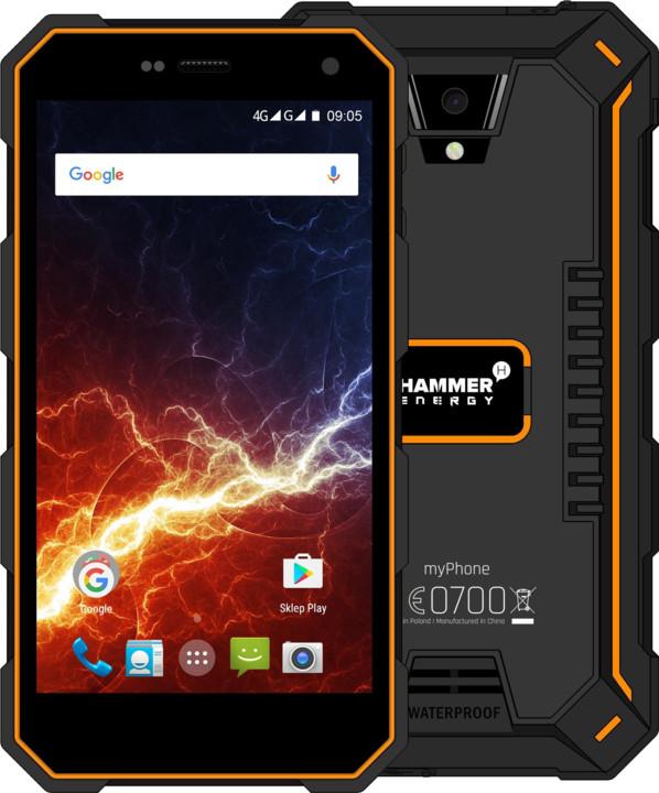 myPhone HAMMER ENERGY LTE, černá/oranžová