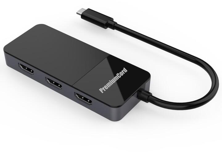 PremiumCord adaptér USB-C - 3xHDMI 2.0 4K@60Hz, MST