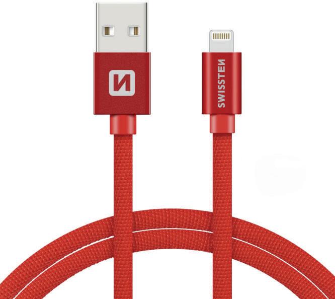SWISSTEN textilní datový kabel USB A/M Lightning, 3m, červený