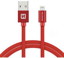 SWISSTEN textilní datový kabel USB A/M Lightning, 3m, červený - 71527601