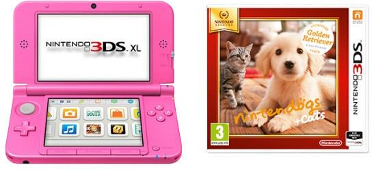 Nintendo 3DS XL, růžová + Nintendogs+Cats: Golden Retriever