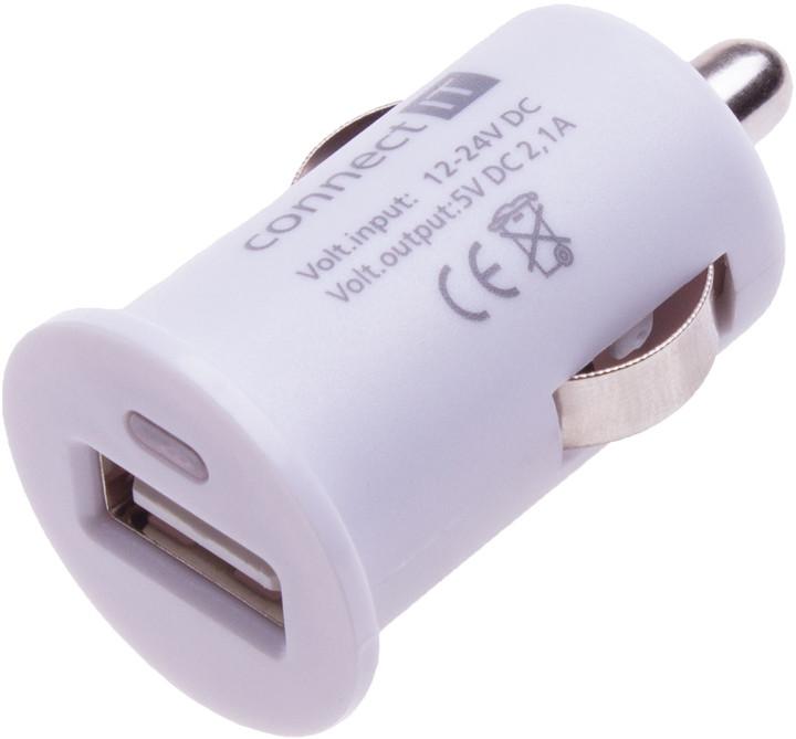 CONNECT IT auto adaptér 1xUSB 2,1A, bílá