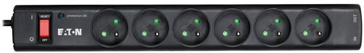 Eaton Protection Strip 6 Tel@ FR, 6x zásuvka, 10A, vypínač, černá
