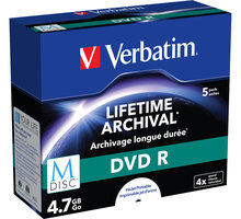 Verbatim DVDR 4,7GB, M-Disc, 4x, 5 ks, Jewel - 43821