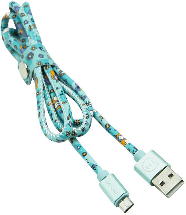 MIZOO USB/micro USB kabel X51, tyrkysová