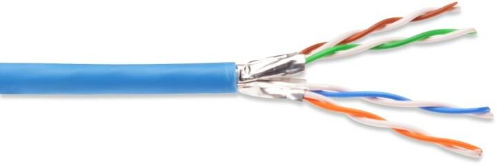 PremiumCord CAT6A FTP 4x2,drát AWG23,čistá měď 100m LSOH
