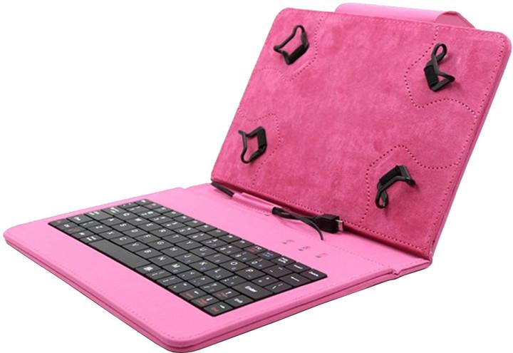 """C-TECH PROTECT NUTKC-01, pouzdro s klávesnicí pro 7-7.85"""", růžová"""
