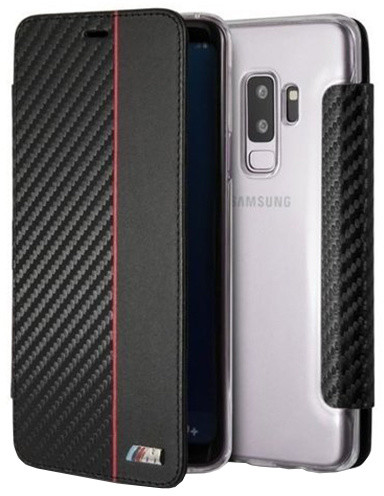 """BMW """"M"""" Carbon Leather Book Case pro Samsung G960 Galaxy S9, Red"""