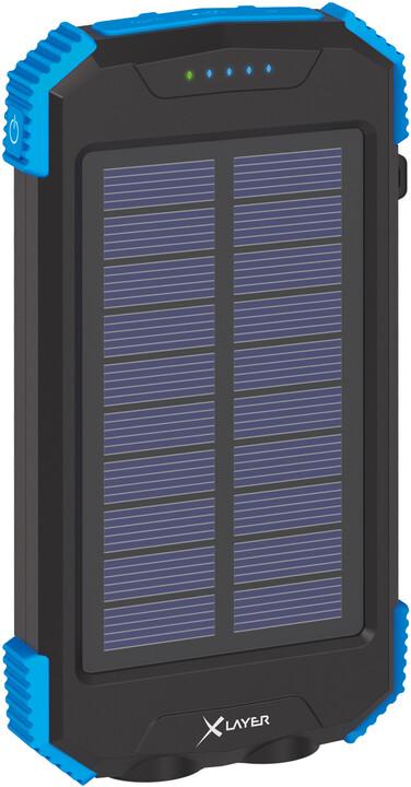 XLAYER powerbanka PLUS Solar, bezdrátové nabíjení, Qi, 10000mAh, černá/modrá