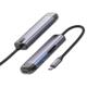 Mcdodo dokovací stanice 6v1, USB-C, 2xUSB 3.0, HDMI 4K, čtečka SD, PD, 100W, šedá