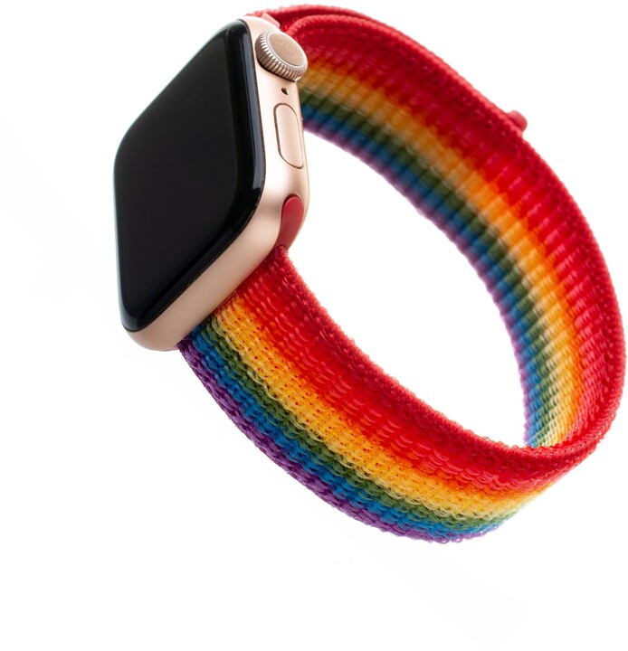 FIXED nylonový řemínek pro Apple Watch, 42/44mm, duhová