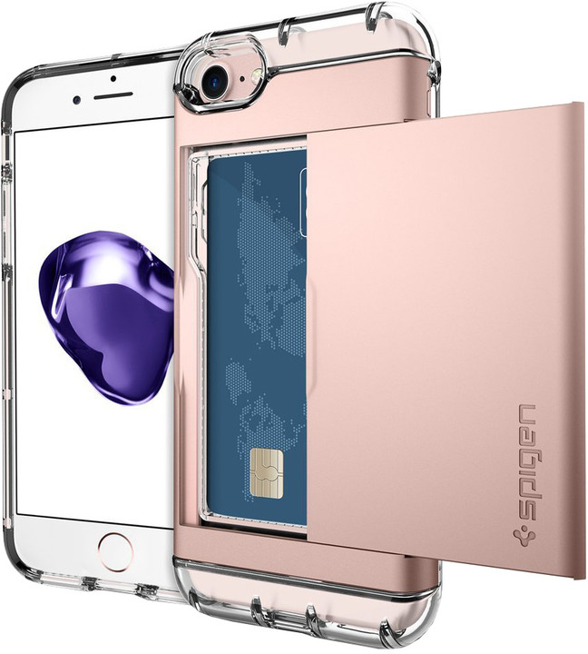 Spigen Crystal Wallet pro iPhone 7, rose gold