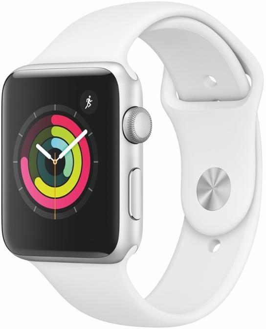 Apple Watch Series 3 42mm stříbrný hliník s bílým sportovním řemínkem