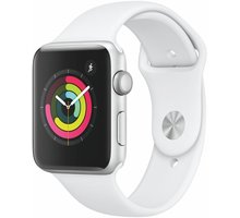 Apple Watch Series 3 42mm stříbrný hliník s bílým sportovním řemínkem - MTF22CN/A