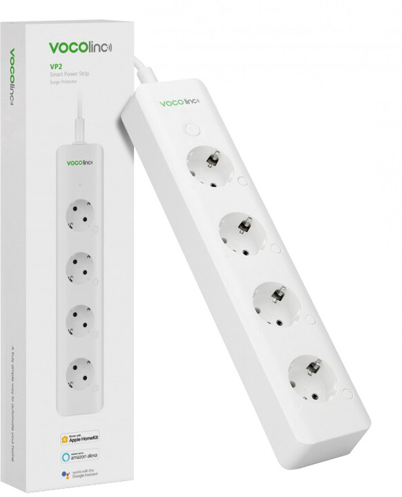 Vocolinc Smart PowerStrip VP2, 4 zásuvky, 1.8m, bílá