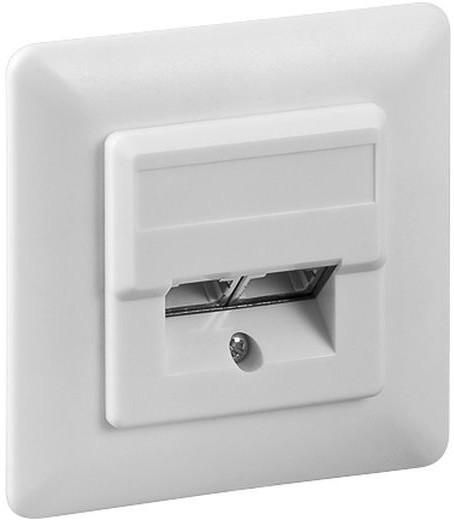Zásuvka na zeď 2xRJ45 pod omítku, bílá