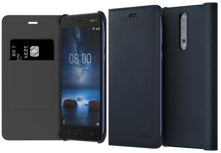 Nokia 8 Leather Flip Cover, modrá