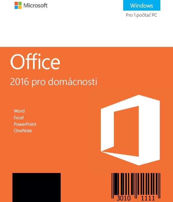 Microsoft Office 2016 pro domácnosti, bez média - kartička