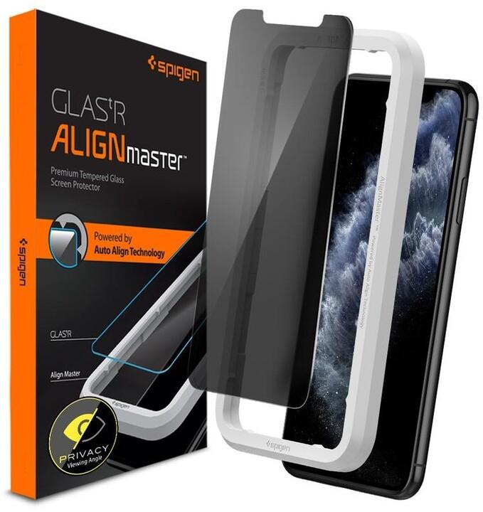 Spigen ochranné sklo AlignMaster pro iPhone 11 Pro, privacy