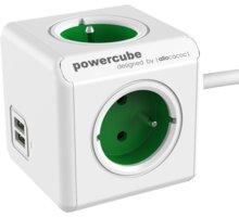 PowerCube EXTENDED USB prodlužovací přívod 1,5m - 4 zásuvka, zelená - 8718444085812