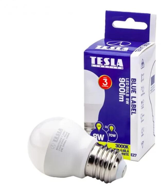 Tesla LED žárovka miniglobe BULB, E27, 8W, 3000K, teplá bílá