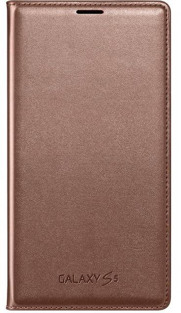 Samsung flipové pouzdro s kapsou EF-WG900B pro Galaxy S5, zlatá