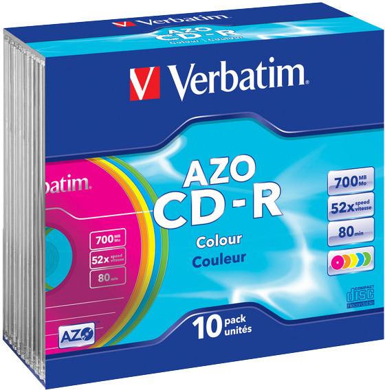 Verbatim Colour CDR 52x 80 minut slim 10ks