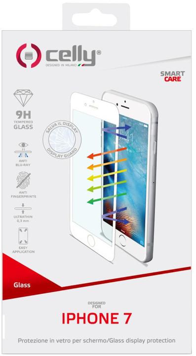 CELLY Glass ochranné tvrzené sklo pro Apple iPhone 7, bílé (sklo do hran displeje, anti blue-ray)
