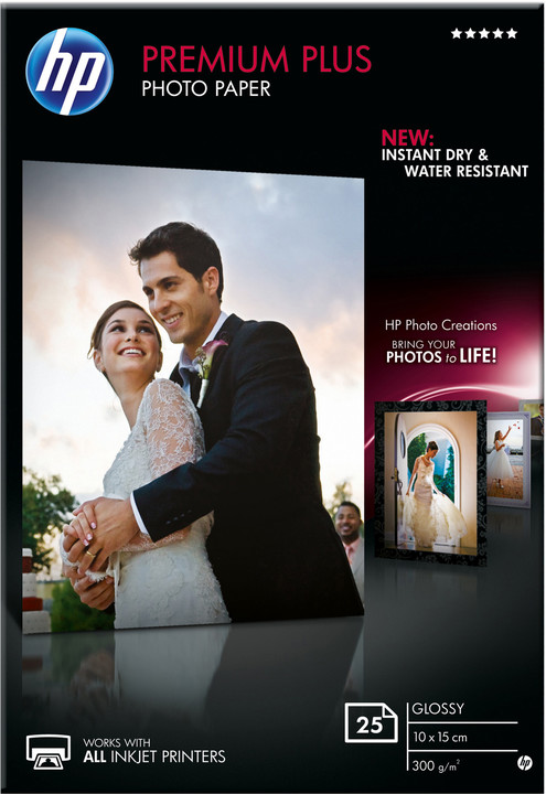 HP Premium Plus Glossy Photo Paper, 10x15 cm, 300 g/m2, 25 listů