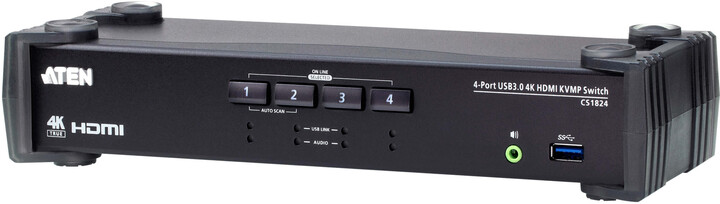 ATEN KVM switch CS-1824, 4-Port USB 3.0 HDMI
