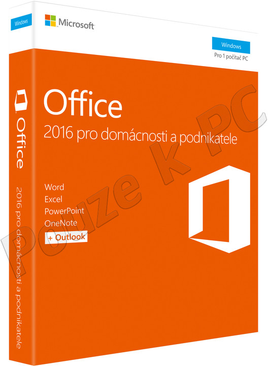 Microsoft Office 2016 pro domácnosti a podnikatele - pouze k PC