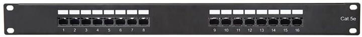 """Masterlan Patch panel 19"""", 16xRJ45, CAT5e, vyvazovací lišta, 1U, černá"""