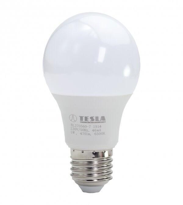 TESLA LED žárovka BULB, E27, 5W, 6500K, studená bílá