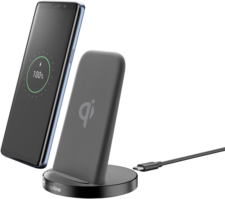 CellularLine Wireless Fast Charger Stand + Fast Charge adaptér 10W, černá