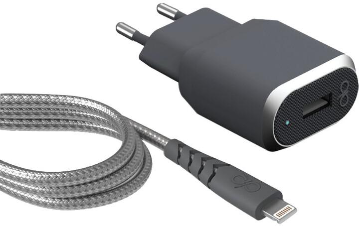 BigBen Force Power rychlá USB nabíječka + kabel Lightning/USB-A, šedá