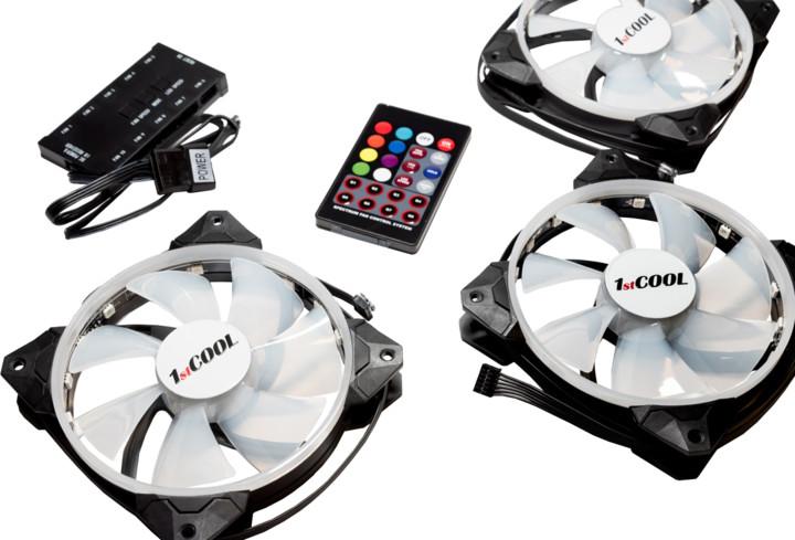 1stCool Fan KIT2, 3x RGB LED ventilátor 120x25mm+ řadič+ dálkové ovládání