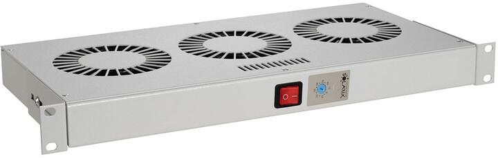 """Solarix chladící jednotka 19"""", 1U, 3 větráky s bimetalovým termostat., RAL 7035, do 19"""" lišt"""